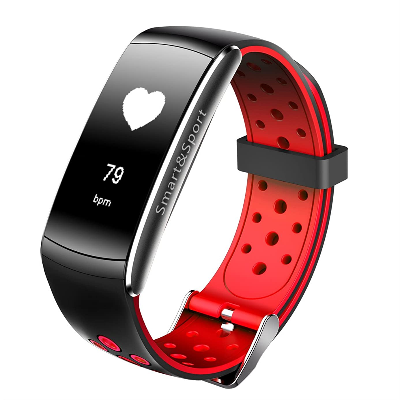 Fitness Tracker Migemi-Tech ZSZ11BR Smart Bracelet Blood Pressure Heart Rate Monitor Waterproof Activity Tracker iOS & Android Smartphone (Black&Red)
