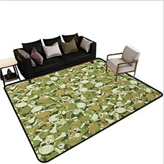 Camo Carpet mat Sketchy Skulls and Crossbones Warning Sign Spooky Scary Horror Tile Area Outdoor Rug Pale Brown Green Pale Green 4'x6'