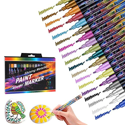 Winkeyes Acrylic Paint Pens for Rock Painting, 18 Vibrant Colors Oil Paint Marker Pens Kit for Glass, Stone, Wood, Fabric, Ceramic, Rock & More, Extra Fine Tip, Best Art for Crafters, Kids and Adults