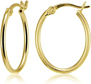 Sterling Silver High Polished Dainty Small Oval 20mm Hoop Earrings