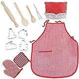 Tablier Enfant Cuisine Kit 12pcs Chef Set Jeux de Rôle Cuisinier Costume avec Tablier Toque Ustensiles de Cuisine Mitt pour Garçons Filles 3 4 5 Ans