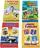 FOUR X CARD GAMES FOR CHILDREN- 4 PACKS OF FUN! GREAT GIFT! INCLUDES- HAPPY FAMILIES/FARMYARD DONKEY/JUNGLE SNAP/PAIRS ON WHEELS by Lucky Dip