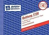 10er Sparpack Avery Zweckform 1736 Quittung inkl. MwSt., DIN A6 quer, fälschungssicher, 2 x 40...