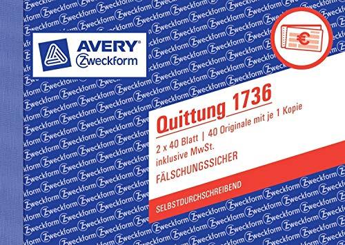 10er Sparpack Avery Zweckform 1736 Quittung inkl. MwSt., DIN A6 quer, fälschungssicher, 2 x 40 Blatt, weiß, gelb (10)