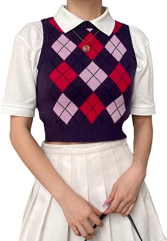 Argyle Y2K Tank Sweater Women 90s Preppy Style Casual Sleeve Knitted Crop Top Jumper Vintage Mini Vest