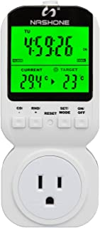Nashone 7-day Programmable Thermostat Plug-in Digital Light Timer Switch with 3-prong Outlet(Thermostat Timer)