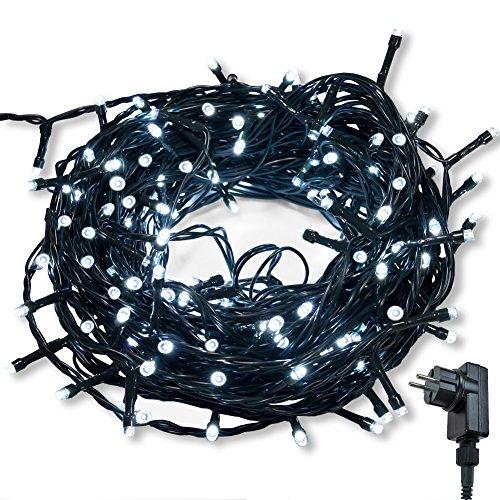 Lichterkette WISD 300 LED 32.8M Weiß Innen und Außen LED Beleuchtung mit EU Stecker auf Dunkelgrün Kabel für Weihnachten Garten Festival Party Hochzeit Dekoration Weihnachtsbaum Deko