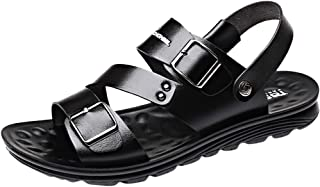 Mens Rivet Leather Sandals/Casual Soft Comfy Beach Walk Shoes-AopnHQ Slippers Hole Loafers Size 7-9.5