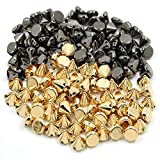 300PCS Acrylic Punk Bullet Rivets Cone Spike Studs Beads, Sew On, Glue On, Stick On, DIY Garments, Bags & Shoes Embellishment, Gold and Gun Black 10mm
