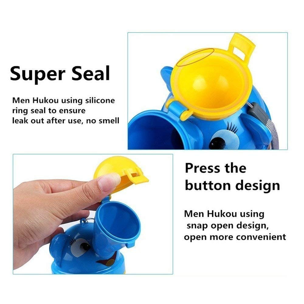 [Upgrade] BYETOO Portable Baby Child Kids Travel Potty Hygienic Leak Proof Urinal Emergency Toilet for Camping,Car Travel,Outside,Park and Kid Toddler Potty Pee Training,Cute Duck Design,Yellow-boy