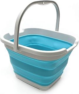 SAMMART 10L (2,6 gallons) Panier/seau pratique pliable rectangulaire (Gris/Bleu brillant)