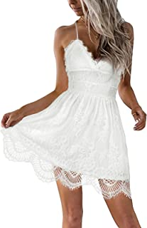 AOOKSMERY Women Summer V-Neck Spaghetti Straps Lace Backless Party Club Beach Mini Midi Dresses