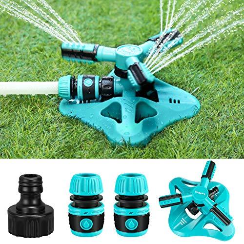 Fixget Regadera de jardín, sistema de riego de césped mejorado, riego automático de riego giratorio de 360 grados para regar plantas o juegos de verano al aire libre (azul)