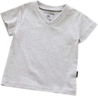 Fairy-Baby Kids Boys Summer Short Sleeve Solid V-line Cotton T-shirt Tee Casual Tops