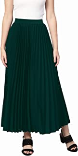 Red Rose Fashion Women Solid Pleated Black Skirt