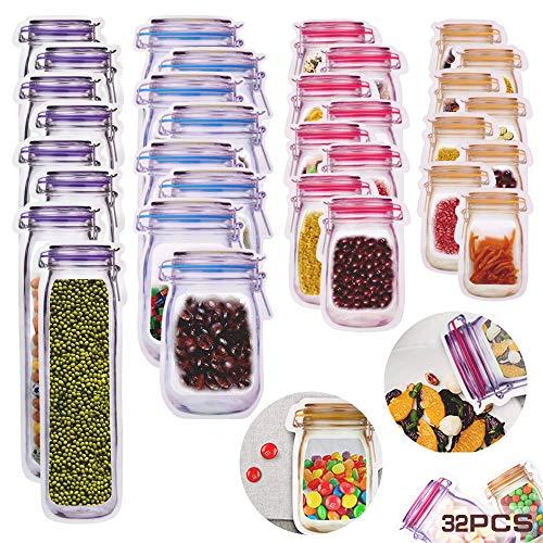 MEISHANG 32 PCS Mason Jar Zipper-Taschen,Lebensmittelbeutel Einmachglas,Wiederverwendbare Gefrierbeutel,Mason Bag,Snack Bag,Food Storage Bag,Wiederverwendbare Lebensmitteltaschen