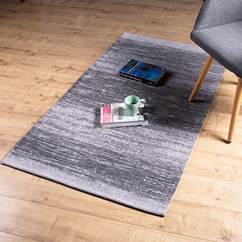 AMIDA 3x5 Rugs for Entryway Grey Non Skid Machine Washable - Abstract Stripe Design - Flat Weave - Easy Care Dog Friendly - Living Room Area Rug 3x5 Gray Charcoal for Home Indoor Floor