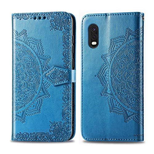 Bear Village Hülle für Galaxy XCover Pro, PU Lederhülle Handyhülle für Samsung Galaxy XCover Pro, Brieftasche Kratzfestes Magnet Handytasche mit Kartenfach, Blau