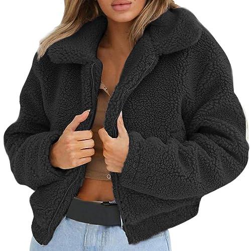 efdc0655269 Women Warm Cardigan Coats Fashion Soft Fluffy Faux Fur Winter Fleece Lapel  Zipper Jackets Outwear Overcoat