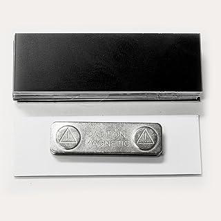 Lot de 10 badges vierges avec dos magnétique Noir 2,5 x 7,6 cm