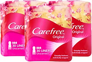 Carefree Pantyliner Original Unscented Value Pack, 30ct, (Pack of 3)