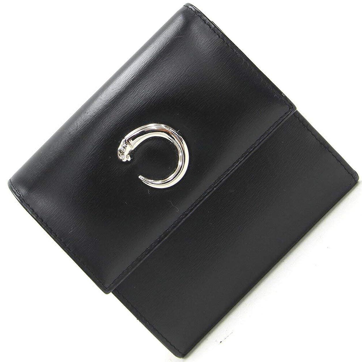侵略グリル徒歩でCartier(カルティエ) 三つ折り財布 パンテール ブラック カーフレザー 中古 黒 ウォレット 豹 Cartier [並行輸入品]