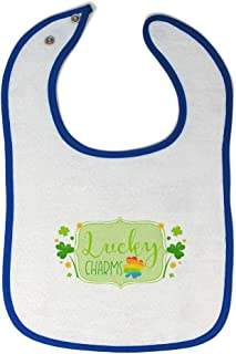 Custom Baby Bibs Burp Cloths Lucky Charms Cotton Baby Items for Baby Girl & Boy White Royal Blue Design Only