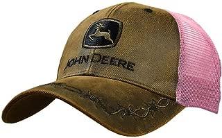 John Deere Womens Oilskin Pink Mesh Back Embroidered Hat