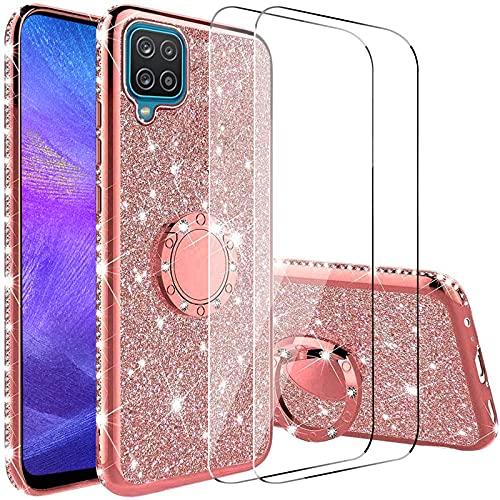 Vansdon Cover Compatibile con Samsung Galaxy A12, Copertura Protettiva con Diamante Glitterato con Anello a 360 Gradi, Silicone Morbido per paraurti in TPU - Oro Rosa
