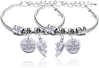 """Set di 2 braccialetti per migliori amici, ciascuno con 1 ciondolo con scritta in lingua inglese: """"No Matter Where&rd..."""