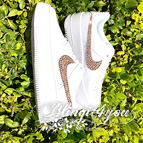 HANDMADE Beedazzled Swarovski crystal Bling NIKE Swooshes Logo for Women White Nike Air Force 1 Sage low Shoes Crystal Wedding Shoes Bling Dancing Shoes
