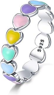 Qings Anillo de Corazón Arcoíris Corazón Colorido a Corazón Amor Sin Fin Anillo de Moda Exquisito de Plata Esterlina 925 c...