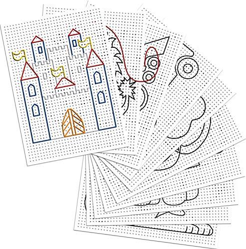 folia 2323 - Stickkarton 300g / m², weiß bedruckt, 17,5 x 24,5 cm, 40 Blatt, 8 Motive - ideal für Stickübungen