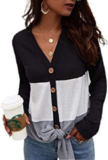 Womens Knitted Long Sleeve Blouse Colorblock Single Breasted Sweater
