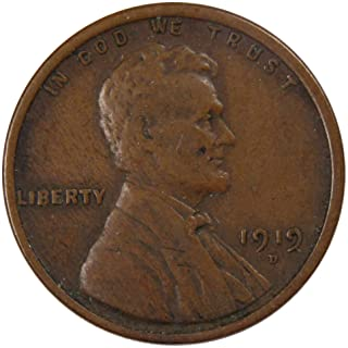 1919 D 1c Lincoln Wheat Cent Penny US Coin F Fine