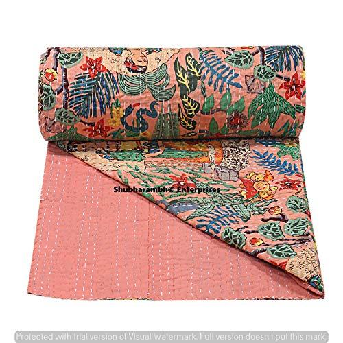 Hippie Cotton Kantha Bed Cover Decorative Floral Print