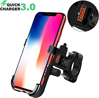 BlueFire Motorcycle Phone Mount Waterproof Cell Phone Holder 360°Adjustable Motorbike Handlebar Phone Holder with QC 3.0 USB Charger Socket for iPhone 8/8P/X/XR/XS, Samsung S7/S8/S9/S9+, Huawei etc
