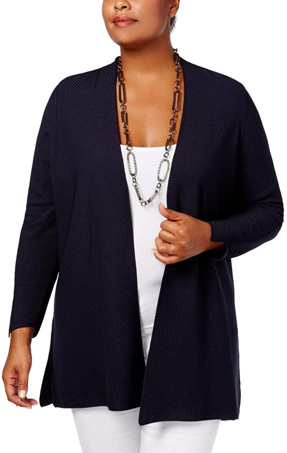 Charter Club Womens Plus Open Front 3 4 Sleeves Cardigan Sweater