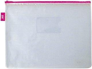 Pasta Zíper com Costura - A5 - PVC - Transparente ROSA