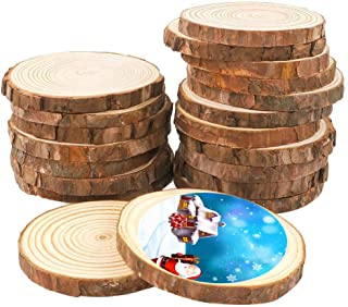 25Pcs 3.0-3.5inch Unfinished Natural Wood Slices Crafts Circles with Tree Bark Log Discs Great for Arts and DIY Craft Rustic Wedding Decorations Ornaments