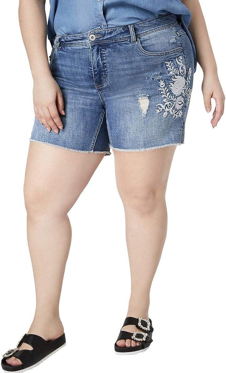 INC Womens Plus Slim Tech Fit Embroidered Denim Shorts
