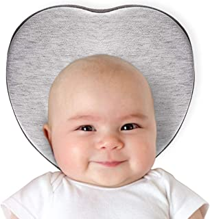Baby Head Shaping Pillow for Flat Head Prevention, Head Support, Heart Shaped, Made of Ventilated Organic Cotton and Memory Foam, Ergonomic Design