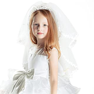 Frcolor Girl's Two Layers First Communion Veils Ivory Lace Crown Veil Hair Accessory with Tiara Crown for Party