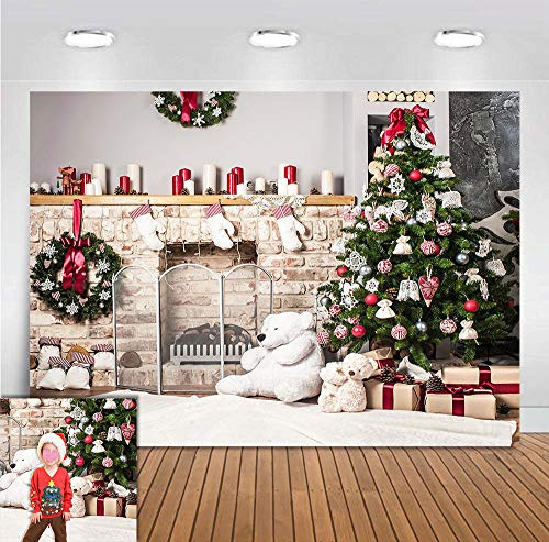 Christmas Eve Party Fireplace Home Decorations Photography Backdrop Xmas Tree Bears Socks Photo Background Baby Shower Supplies Vinyl Family Photo Booths Studio Props 5x3ft Birthday Banner