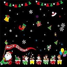 Christmas Snowflake Santa Claus Gift Ball Window Clings Reusable Door Wall Wardrobe Stickers Decal Winter Wonderland Xmas Theme Party Wedding Supplies Festival Birthday Celebration Decorations
