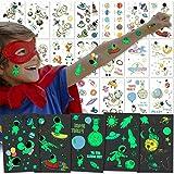 PHOGARY Tatuajes Temporales para Niños y Niñas (Espaciales, Brillar en la Oscuridad), 20 Hojas Calcamonias Temporales , Patrones: Animales, Unicornio, astronautas