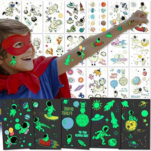 PHOGARY Tatuajes Temporales para Niños y Niñas (Espaciales, brillar en la oscuridad), 20 hojas Calcamonias Temporales, Patrones: animales, unicornio, astronautas