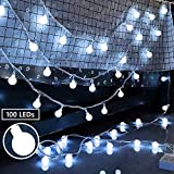 Ollny Globe String Lights 100 LED 33ft for Indoor Bedroom Wedding Party Outdoor Christmas Garden Decorations Bulb Fairy String Lights with Remote Plug in Cool White