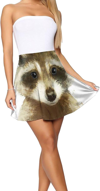 RHRFOL Little Raccoon Women's Basic Versatile Stretchy Flared Casual Mini Skater Skirt