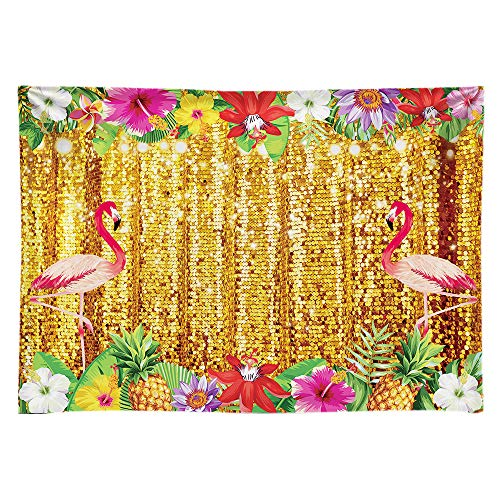 Funnytree Durable Fabric Summer Tropical Aloha Flamingo Party Backdrop No Wrinkles Golden Glitter Photography Background Birthday Baby Shower Portrait Cake Table Decor Banner Photo Booth Props 7x5ft